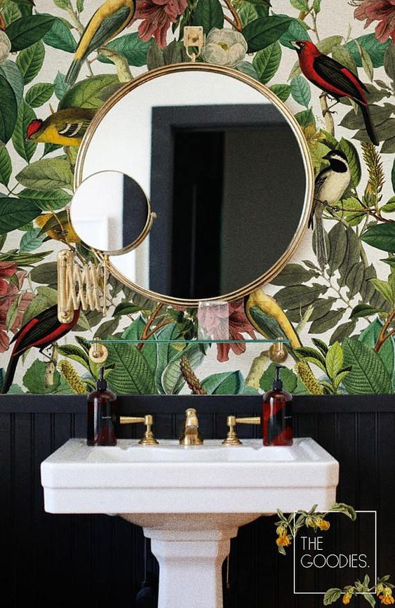 Botanical wallpaper bathroom design idea