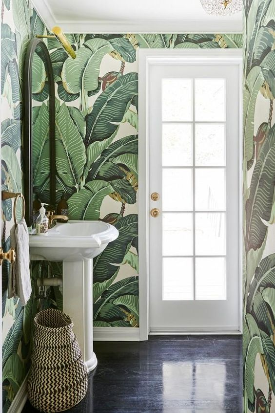banana leaves bathroom wallpaper design idea