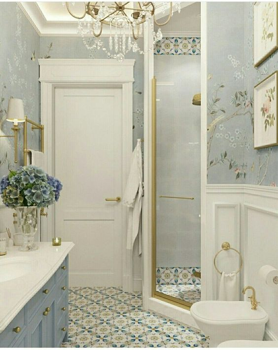 bathroom wallpaper gray design idea