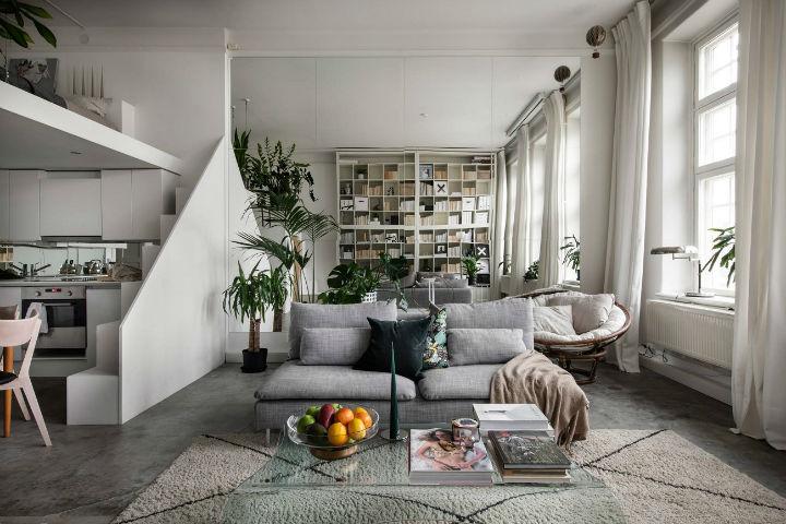 small Scandinavian loft interior design idea