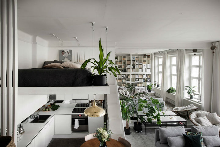 small Scandinavian loft interior design idea 5