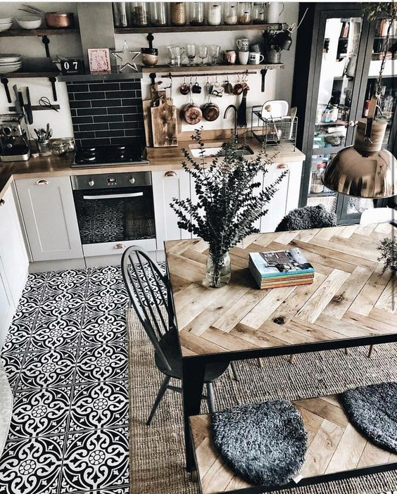 kitchen with dining table design idea 3