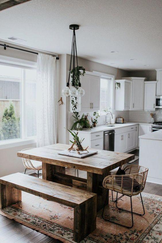 kitchen with dining table design idea 4