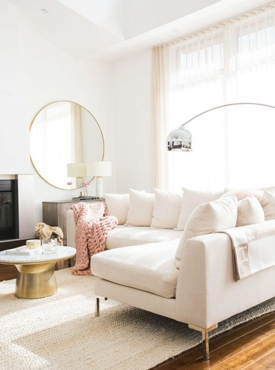 glamorous white and blush pink living room idea