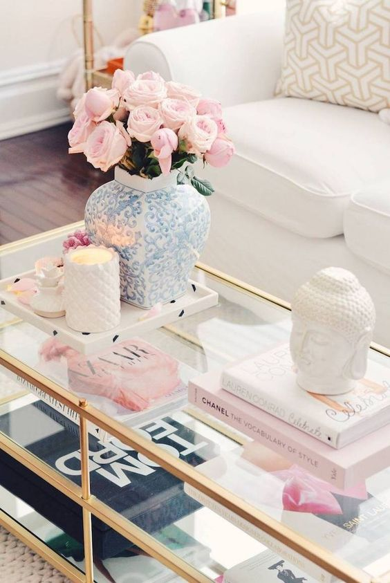 stylish white Buddha coffee table decor