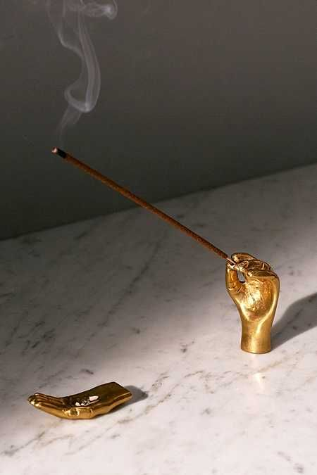 stylish gold Hands Incense Holder Set