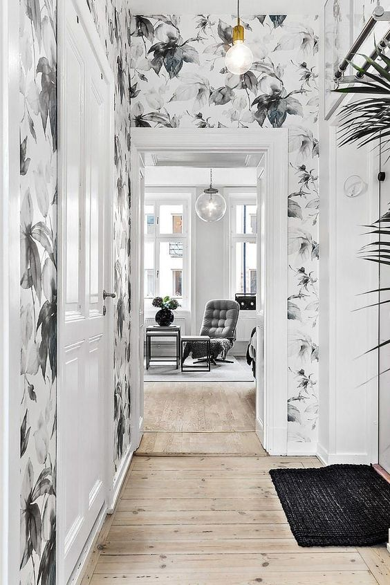 hallway black and white floral wallpaper idea