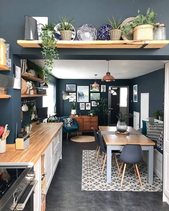 navy kitchen wall color trend