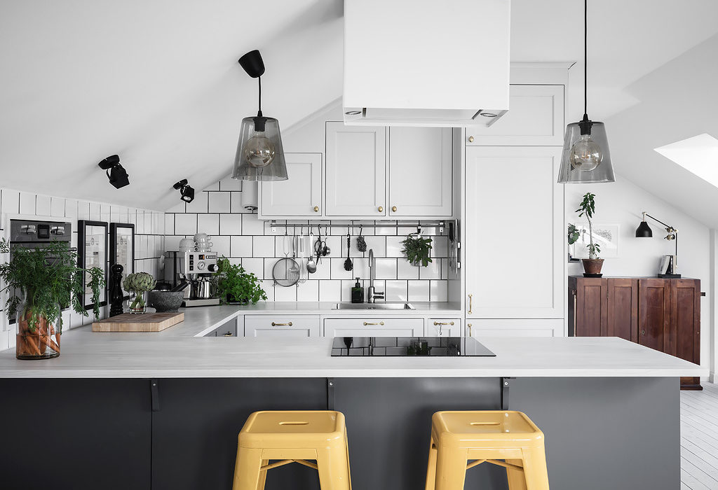 black and white Scandinavian kitchen