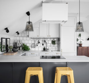 black and white Scandinavian kitchen