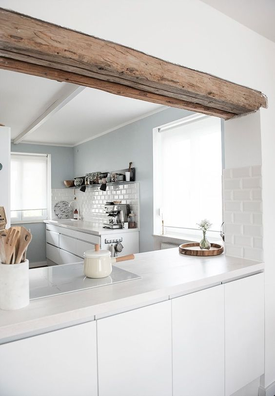 white white Scandinavian kitchen design with no handles