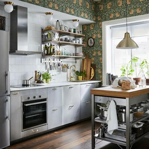 Scandinavian kitchen with green wallpaper