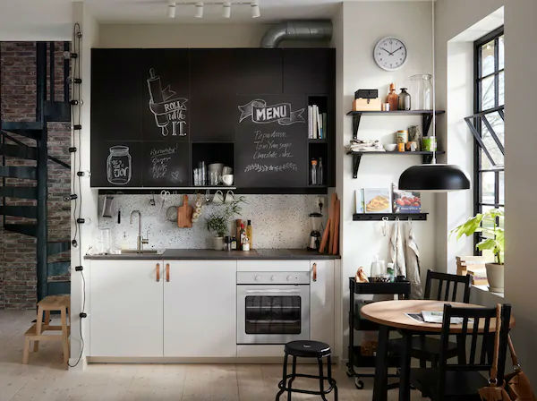 small black and white Scandinavian kitchen design
