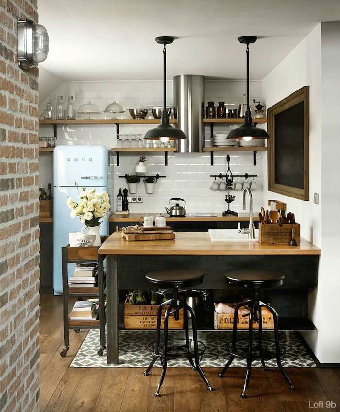 Industrial Scandinavian black kitchen with open shelves