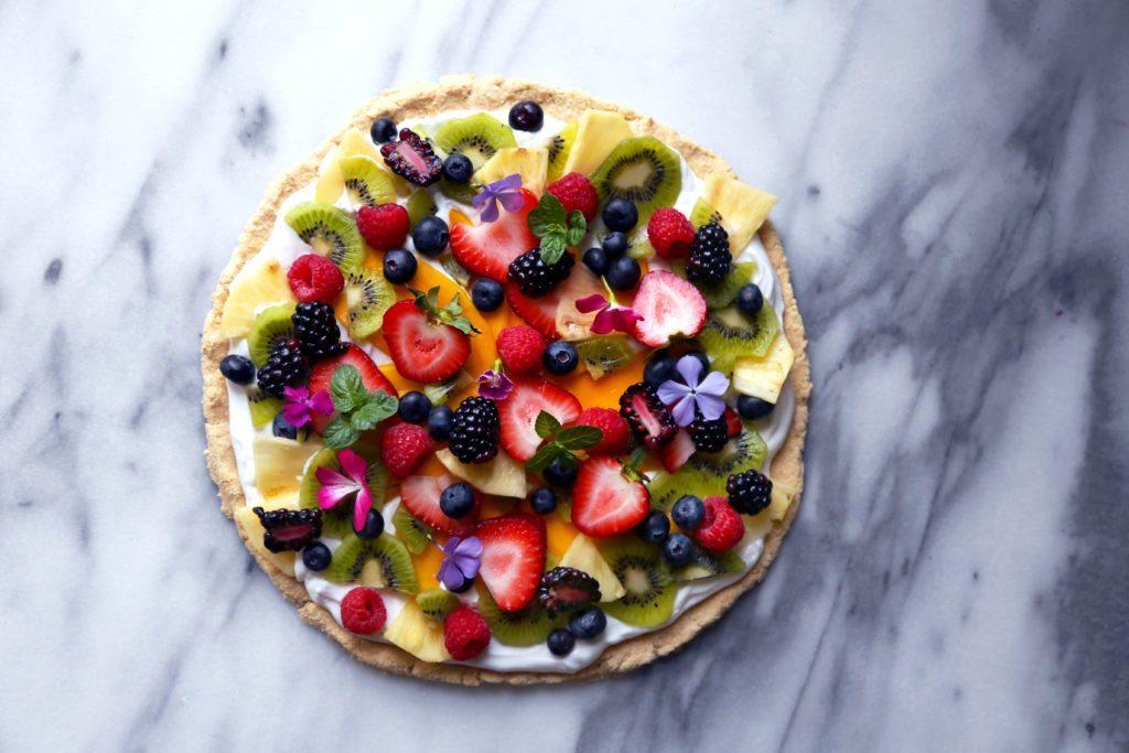 Healthier Tropical Fruit Pizza