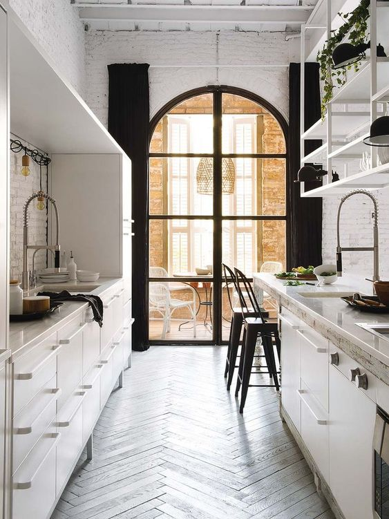 small all white galley kitchen idea