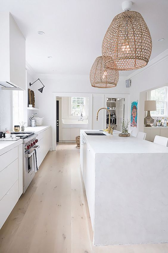 all white modern kitchen with Rattan Wicker Pendant Lights