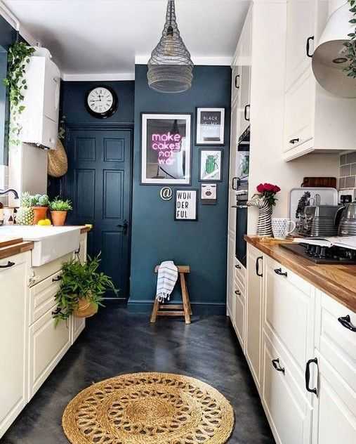 navy kitchen wall color trend 2