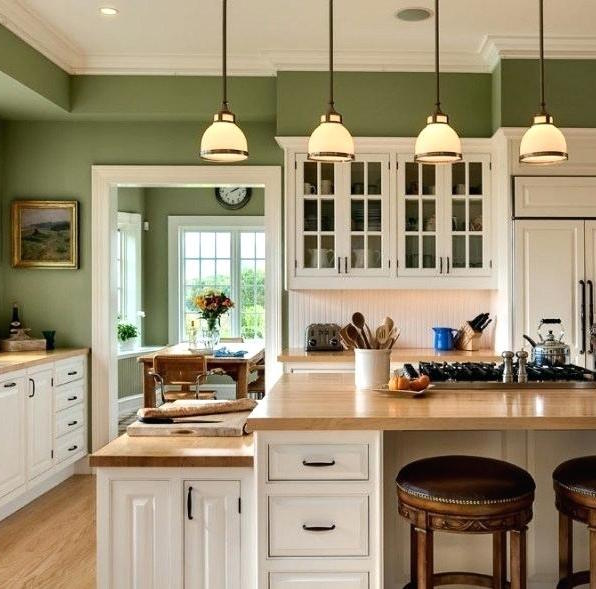 green color kitchen wall paint idea