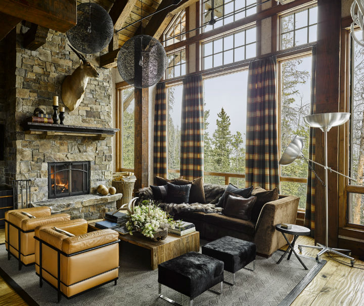 high ceiling rustic stone living room