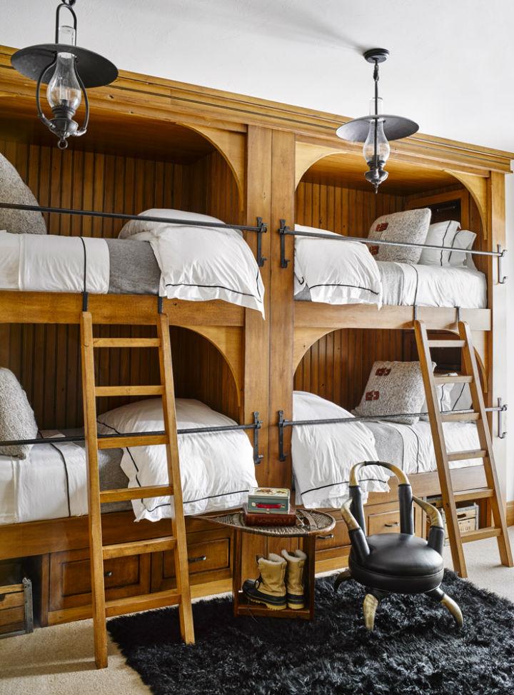 four wood bunk beds design idea
