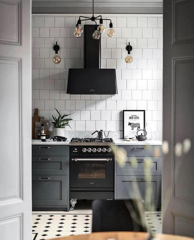 Scandinavian gray kitchen lighting idea
