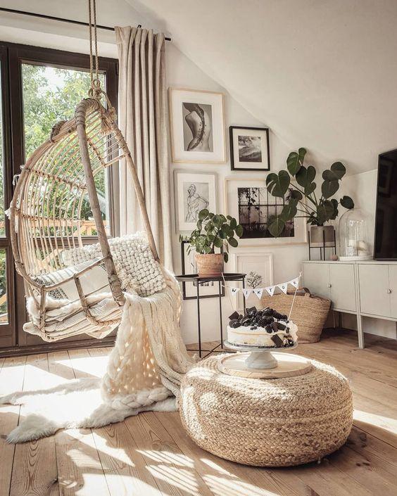 indoor Hammock Chair rattan Swing and indoor plants