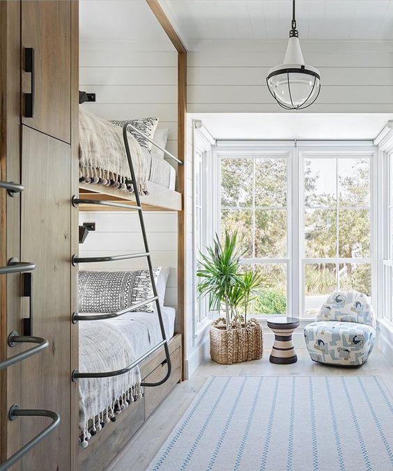 bunk room with indoor plant