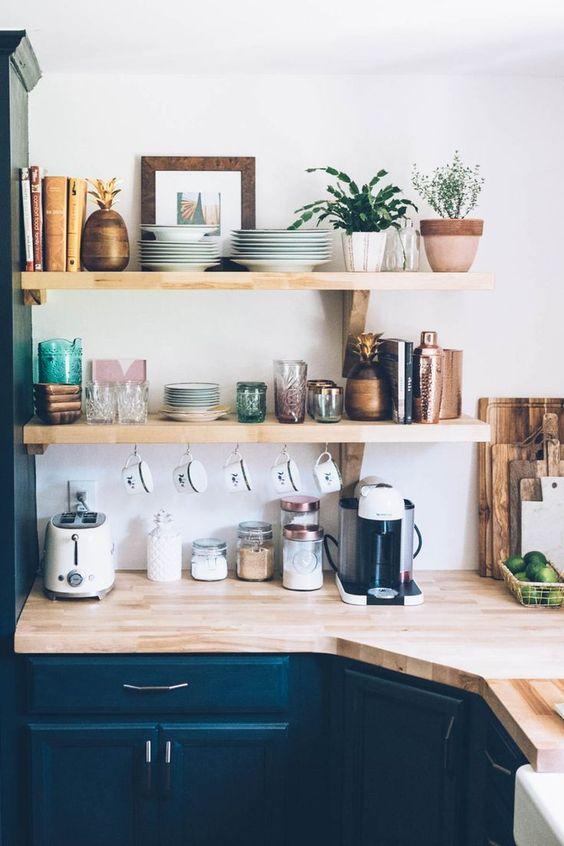 kitchen open shelves pastel decor