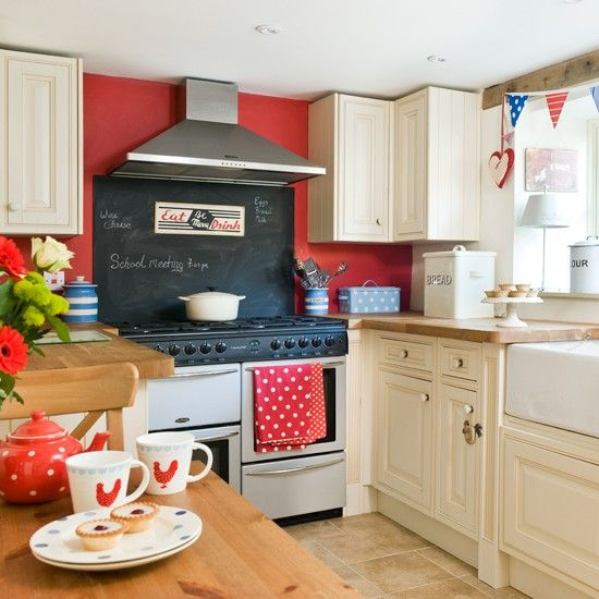 red wall small kitchen paint idea