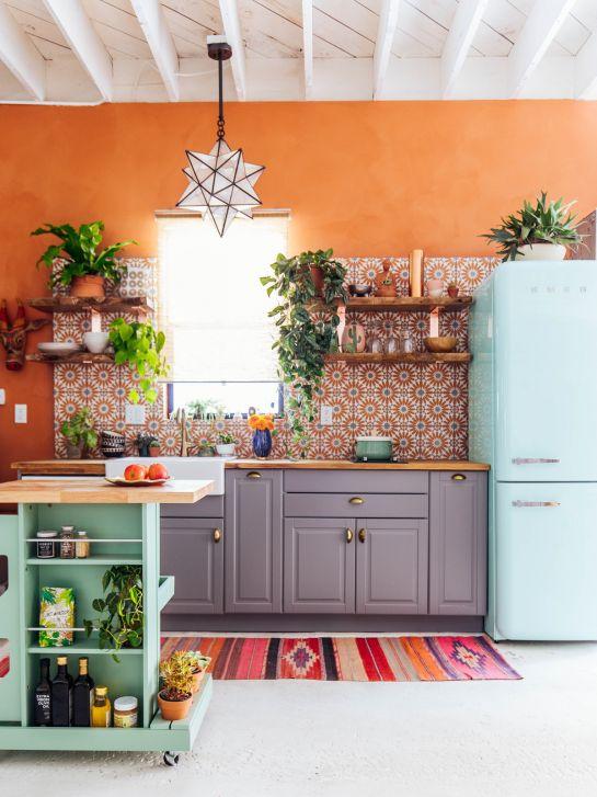 orange kitchen wall paint idea