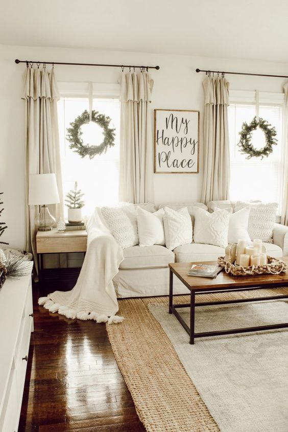white living room farmhouse decorating idea