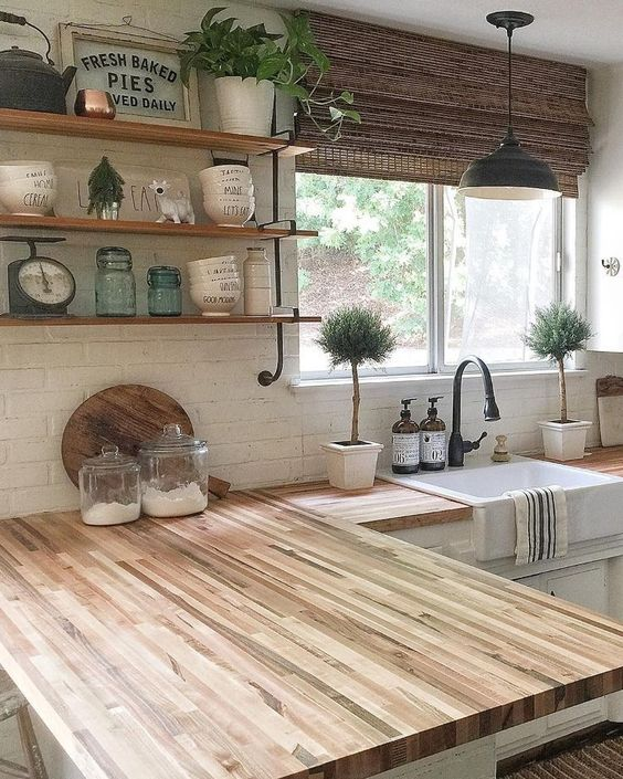modern farmhouse kitchen open shelves style