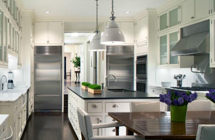 white kitchen with black work top