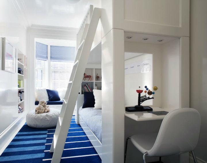 modern white bunk room