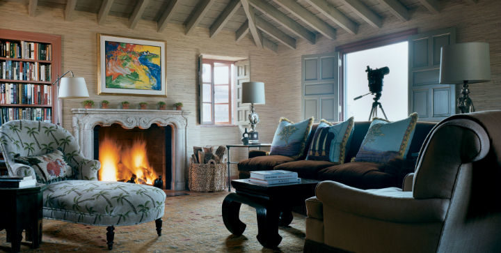 cozy traditional living room with fireplace