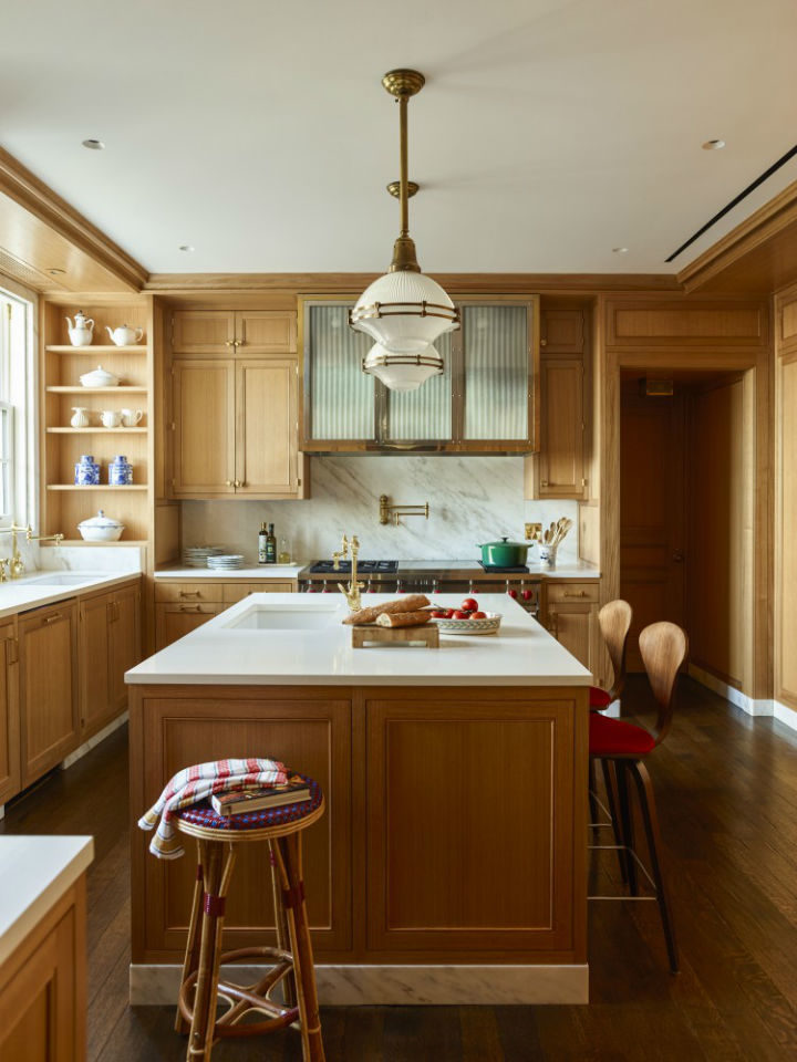 wood transitional kitchen design