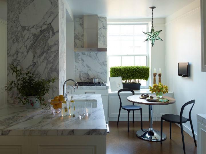 modern small white marble kitchen
