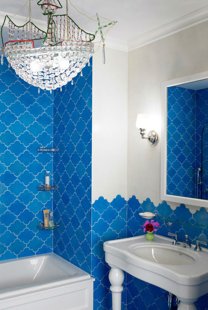 small bathroom with blue tiles