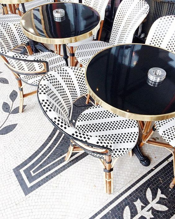 French bistro black and white mosaic flooring