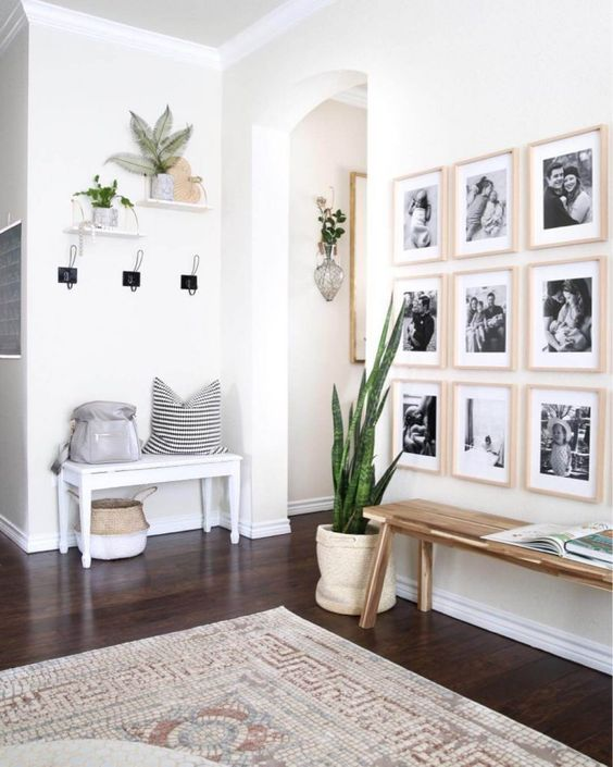 white walls and photo frames in a scandinavian home