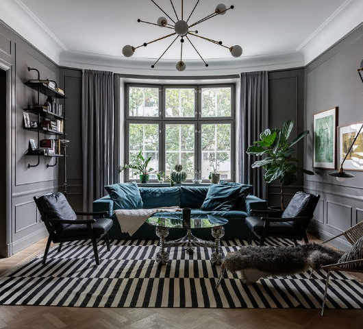 Scandinavian living room decor with grey walls