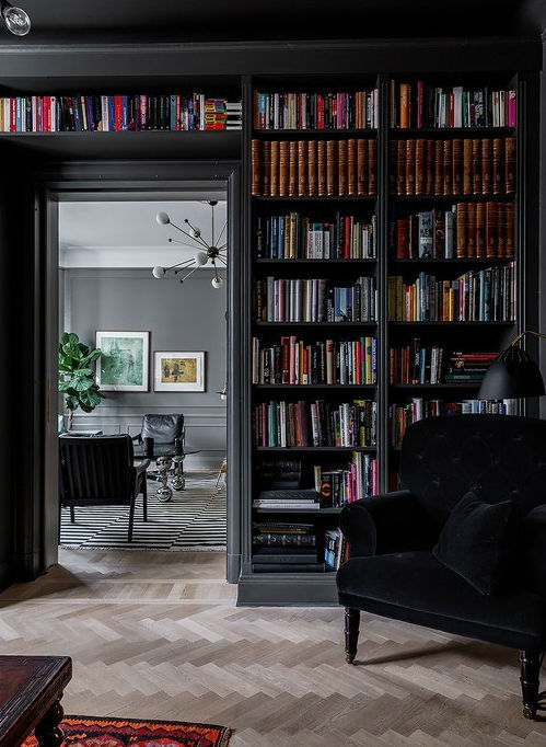black built in home library