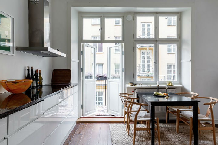 bright white Scandinavian design kitchen
