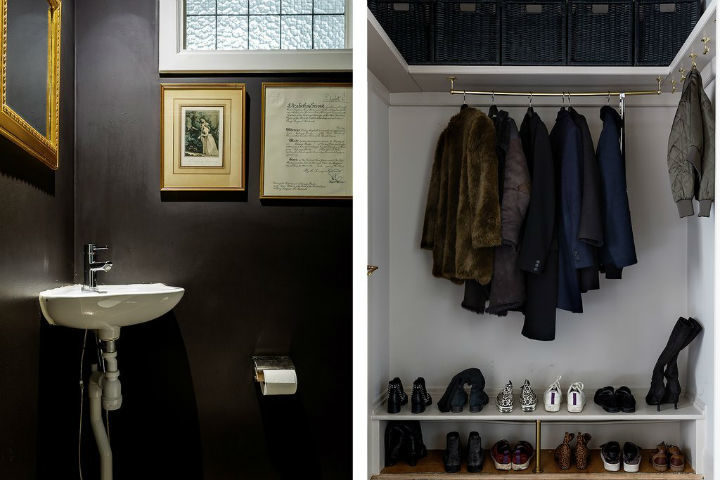 tiny Scandinavian black bathroom design
