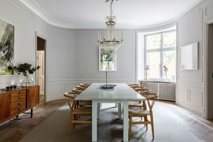 Scandinavian dining room decor with light grey walls