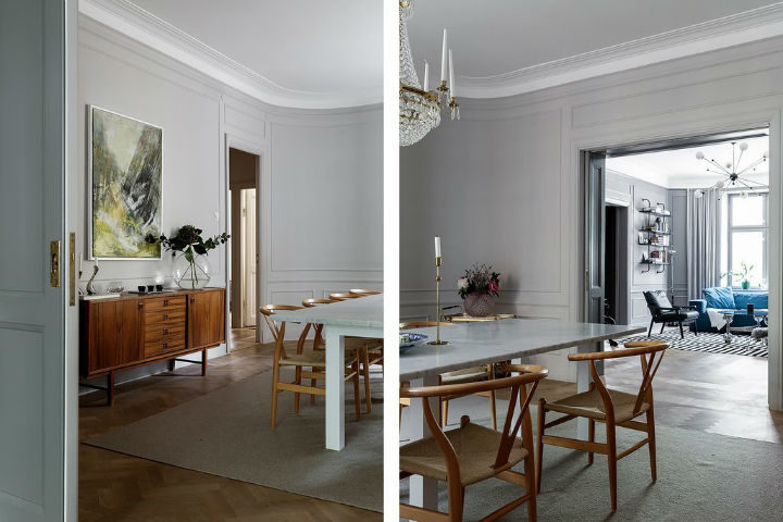 Scandinavian dining room decor with light grey walls 3