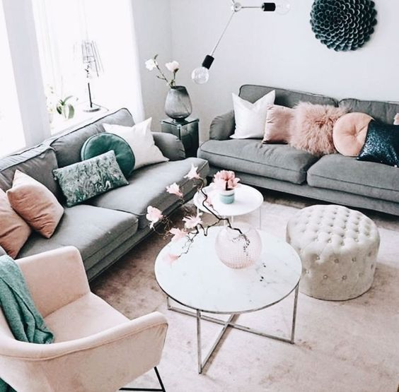 nude pink color in a living room