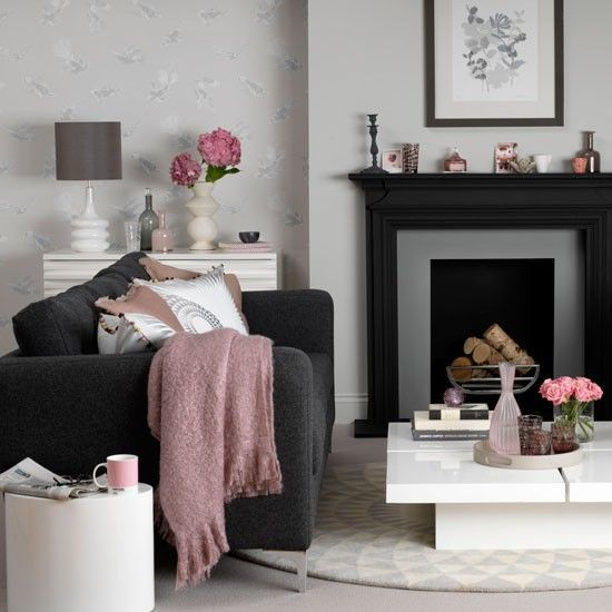 dark grey fireplace in a living room