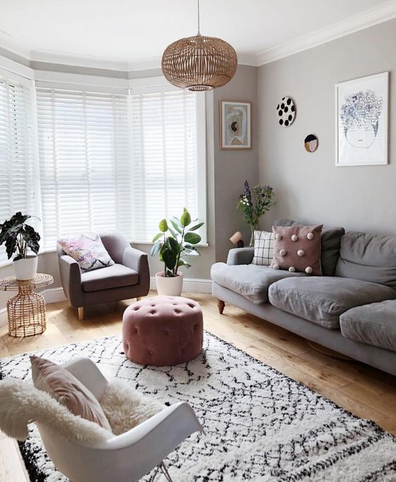 wooden flooring and modern furniture